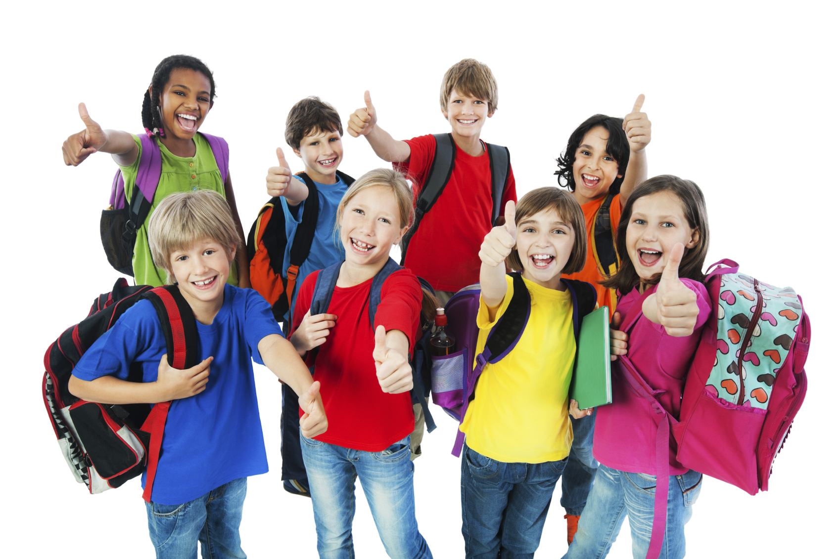 W J Niederkorn Library » School children showing thumbs up.