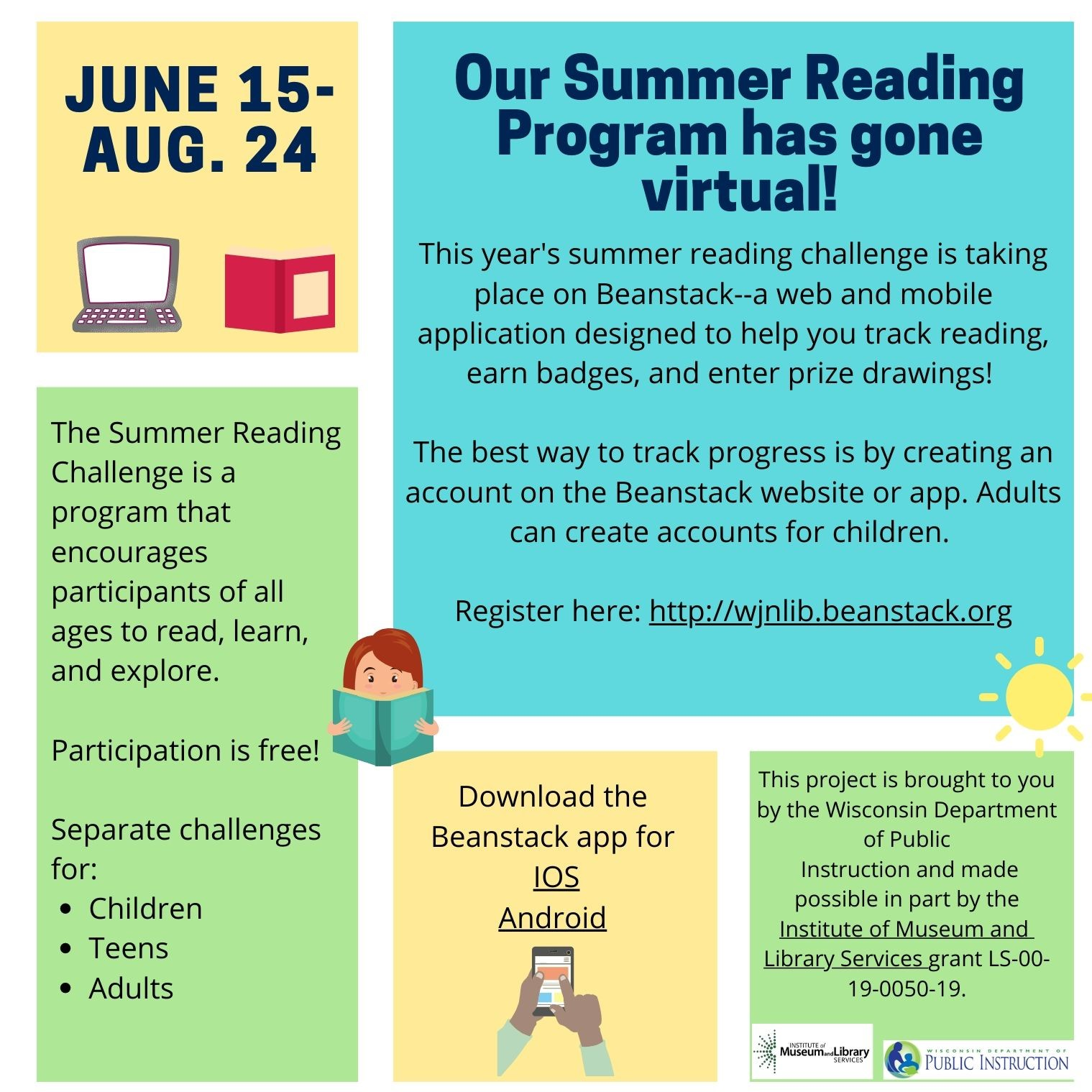 Summer Reading Challenge poster with clipart of a laptop, a book, a girl reading a book, hands holding a smartphone, and the sun.