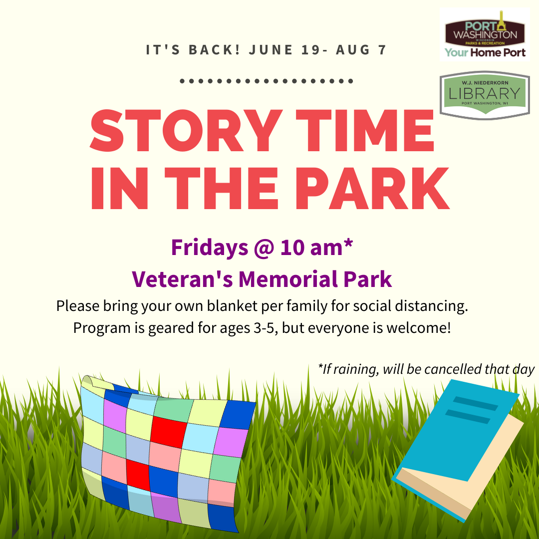 Story time in the park image with clipart of blanket, book, and grass.