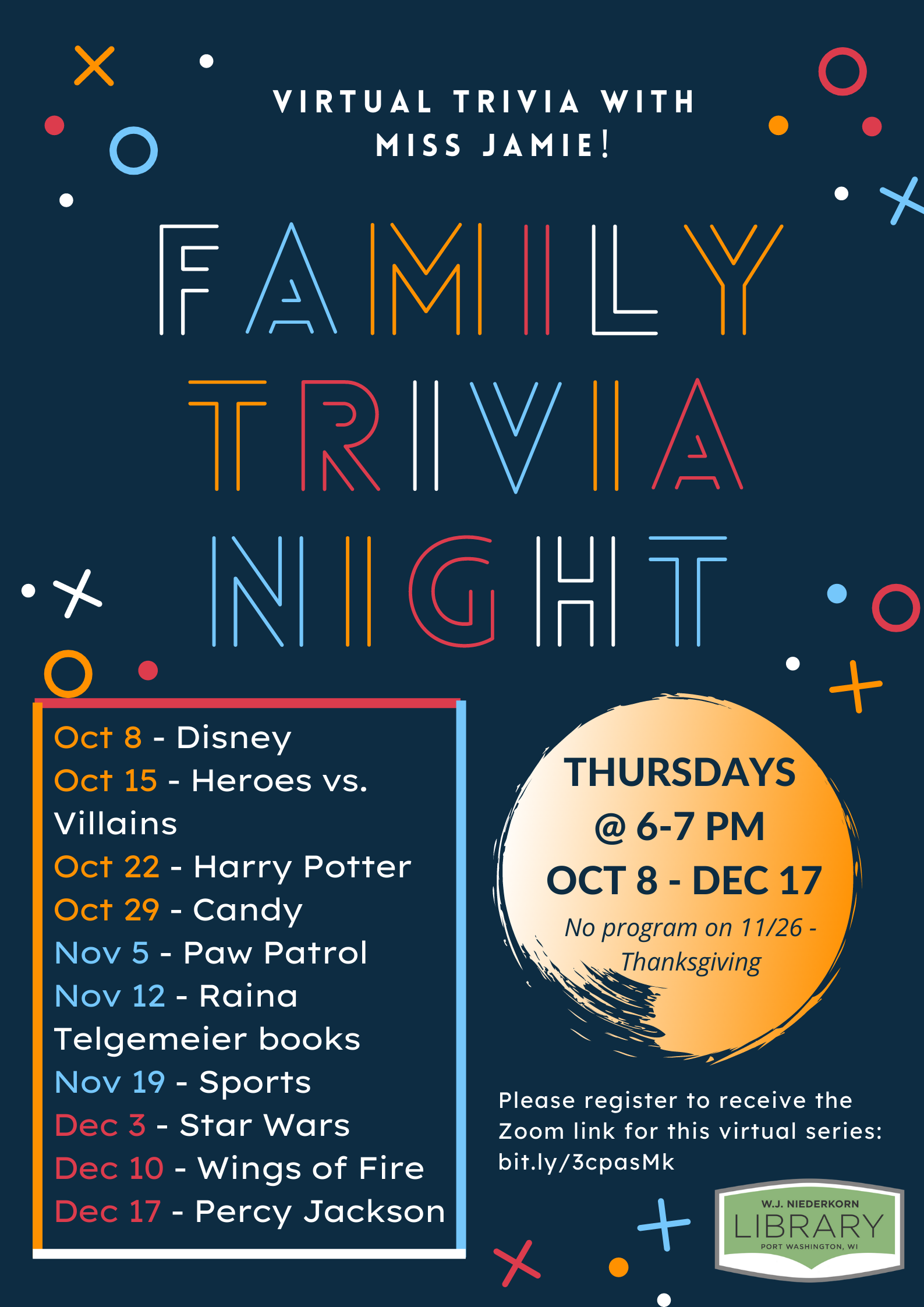 Poster for virtual family trivia night series