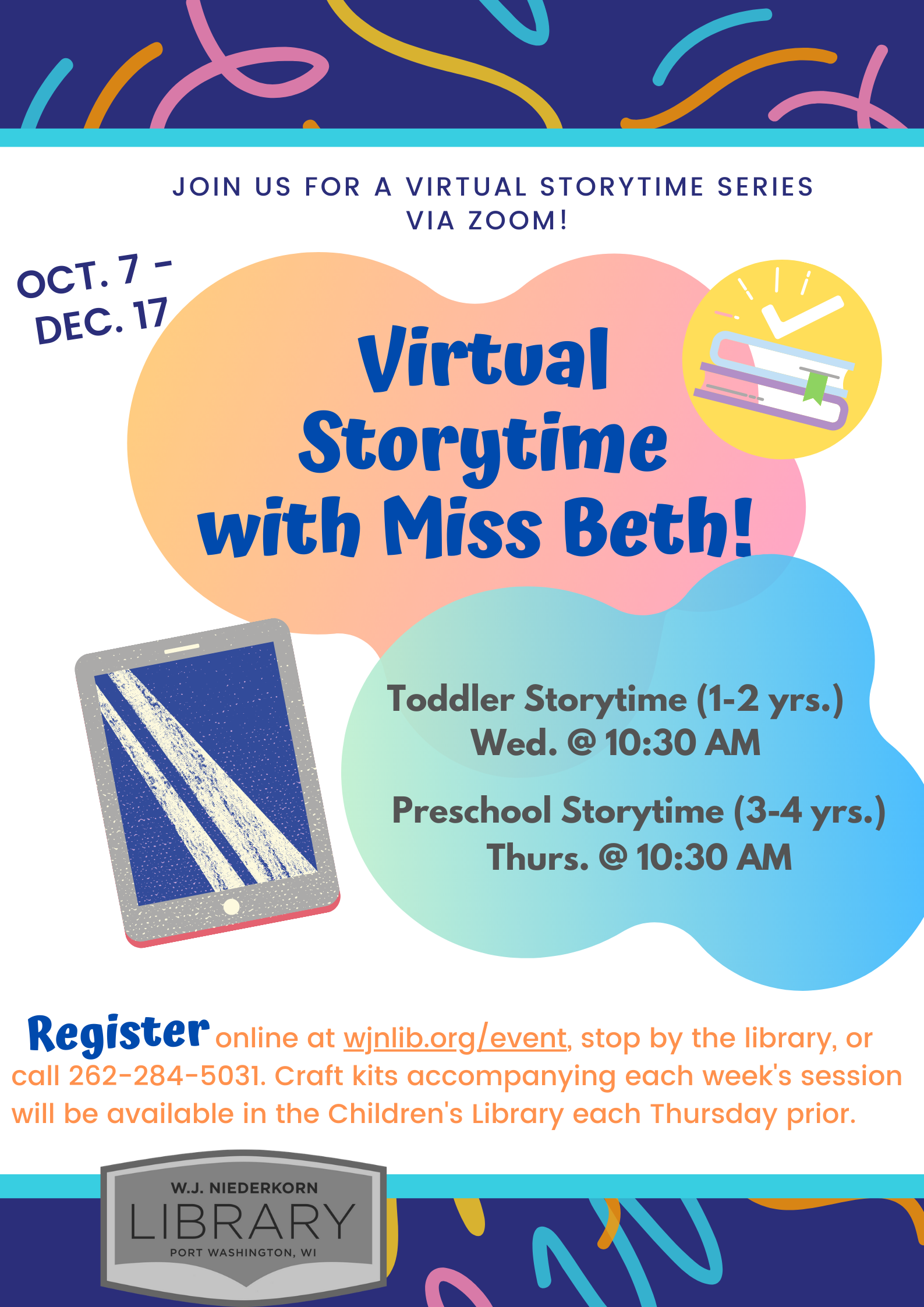 Poster about virtual storytime series with Miss Beth