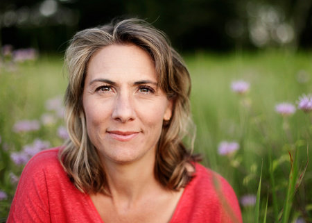 Author Hope Jahren in field of wildflowers