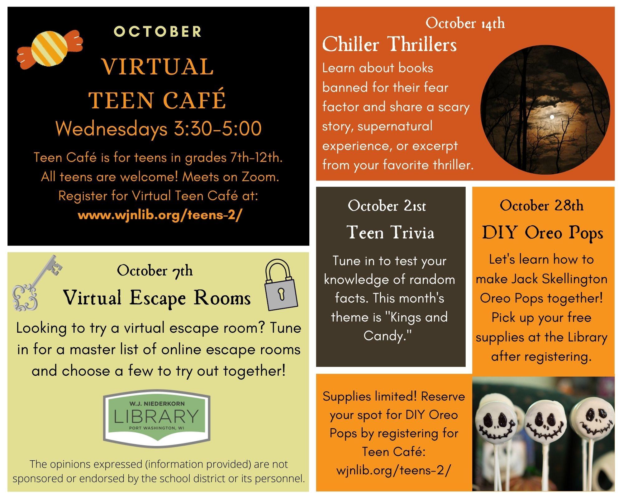 Virtual Teen Cafe October happenings