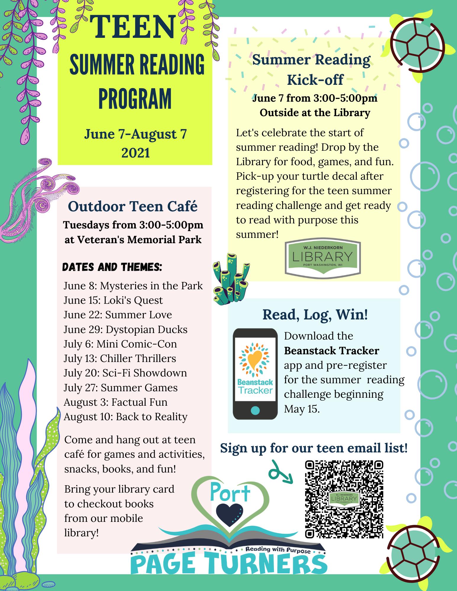 Teen Summer Reading Program flyer