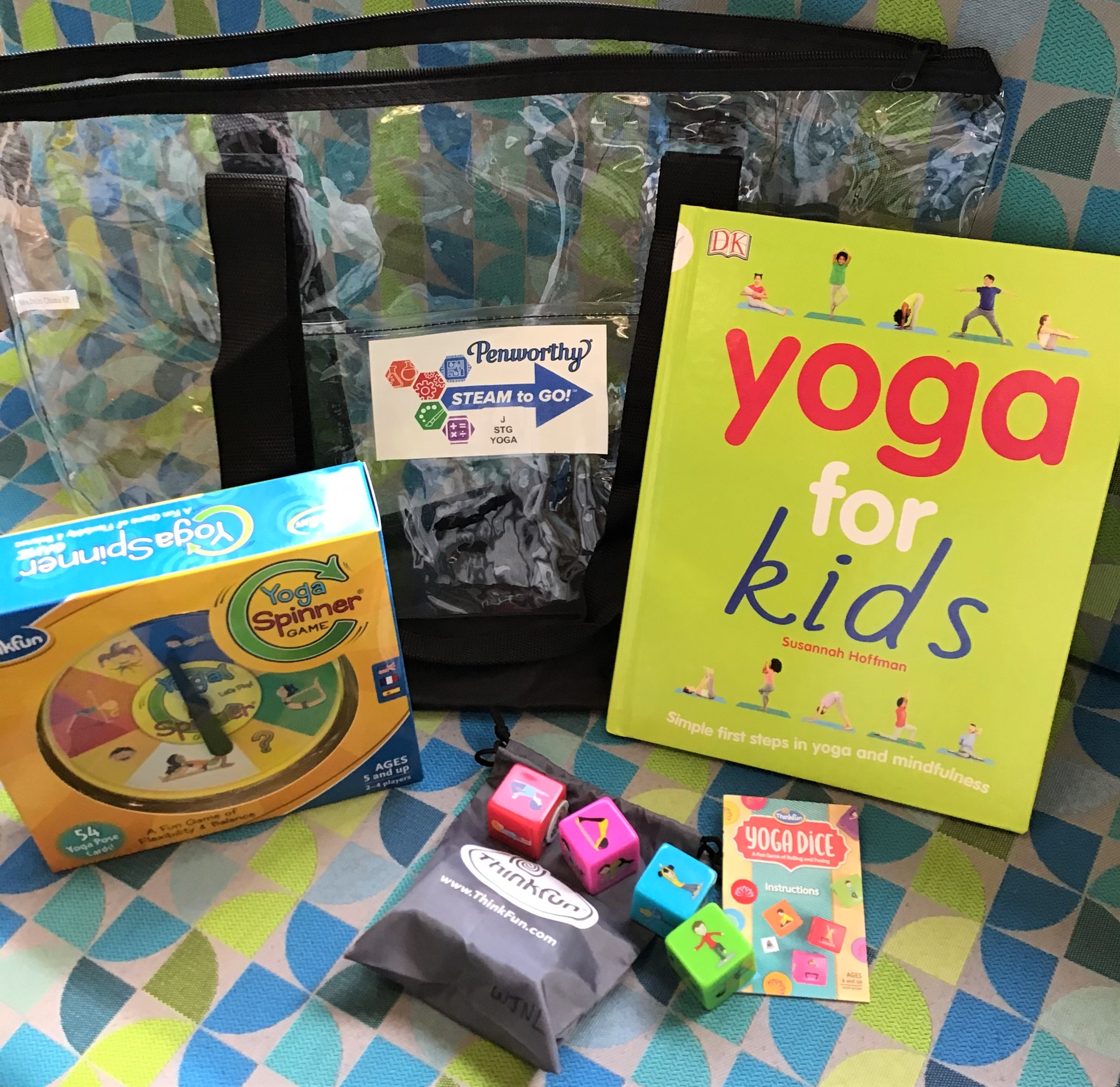 yoga for kids steam-to-go kit, yoga games and materials and book